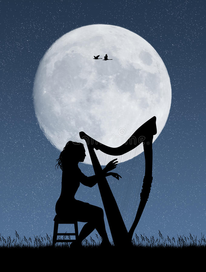 Woman playing the harp in the moonlight stock illustration