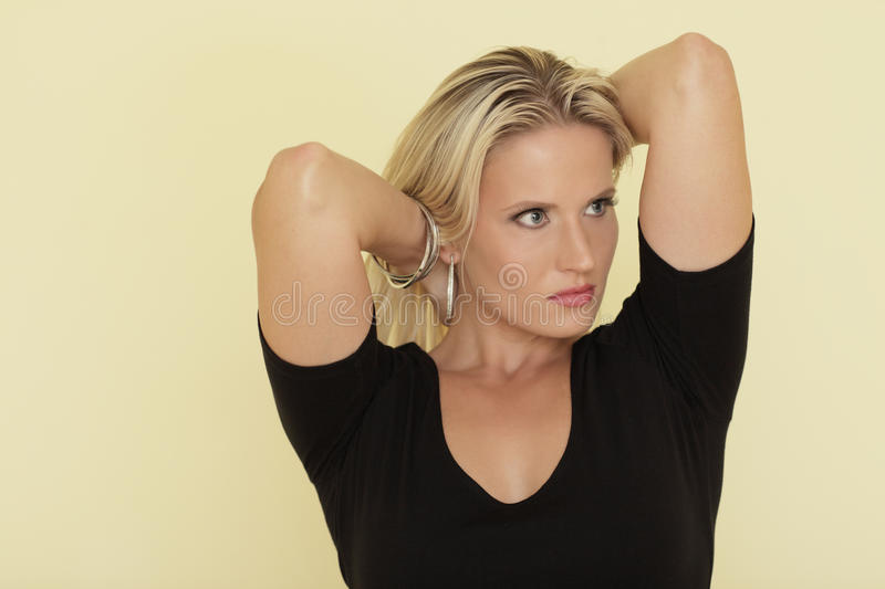 Download Woman Playing With Her Hair Stock Image - Image of color, stylish: 15480513
