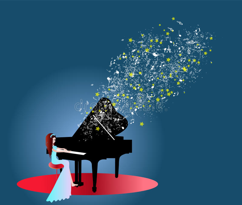Download Woman playing piano music stock vector. Illustration of cheerful - 33450633
