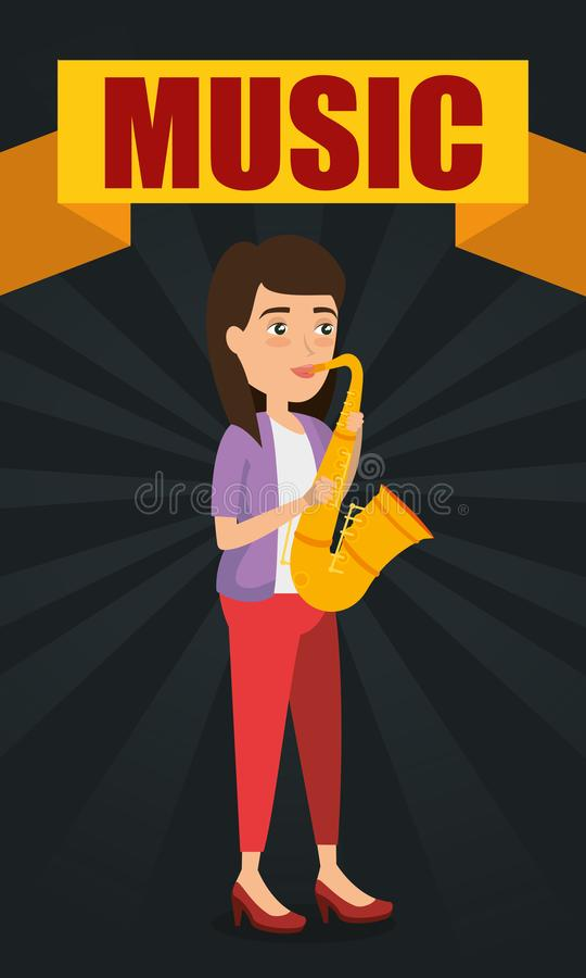 Woman playing saxophone character stock illustration