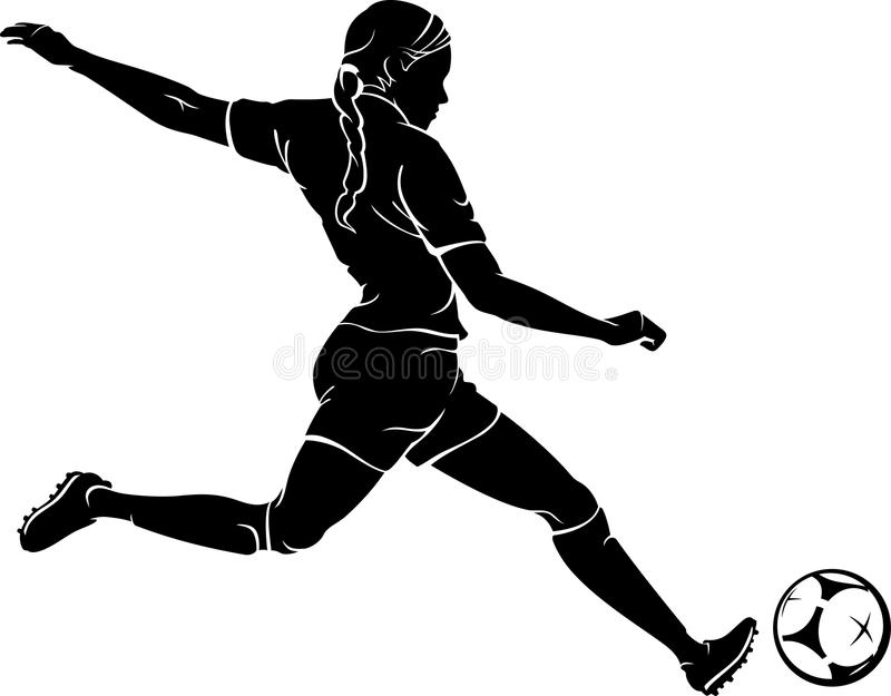 Woman Playing Soccer stock illustration