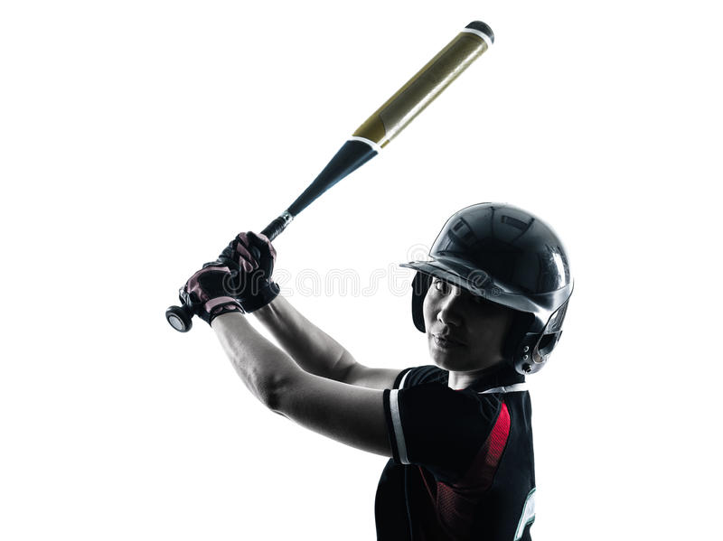 Woman playing softball players silhouette isolated royalty free stock image