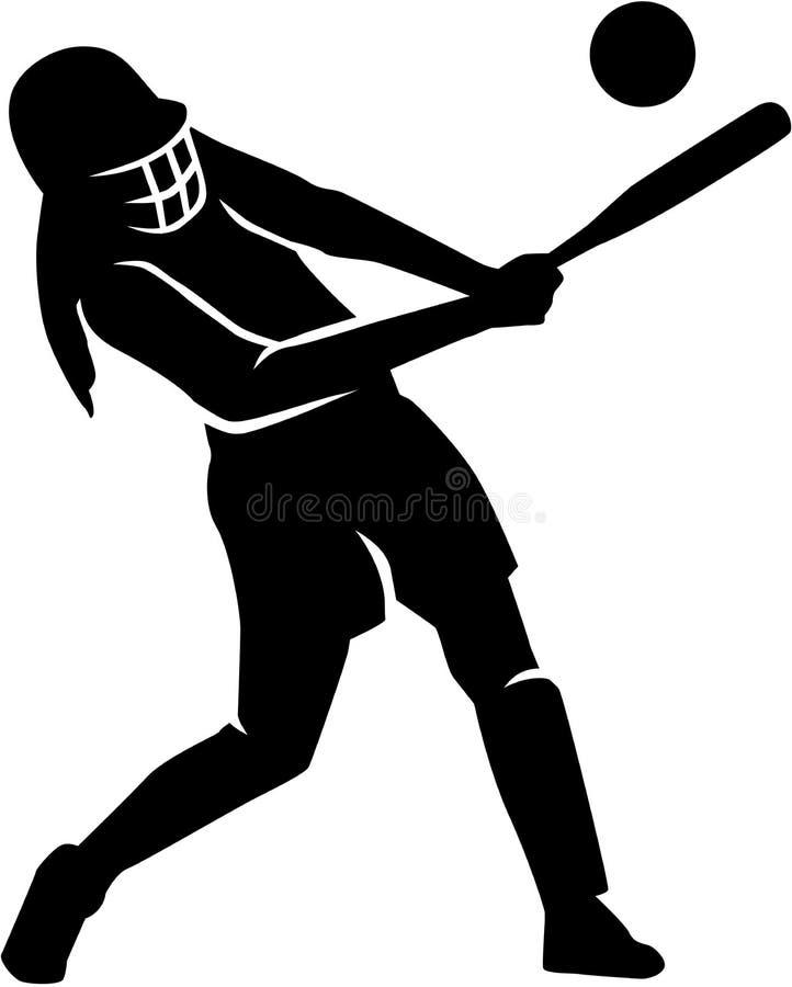 Woman playing softball royalty free illustration