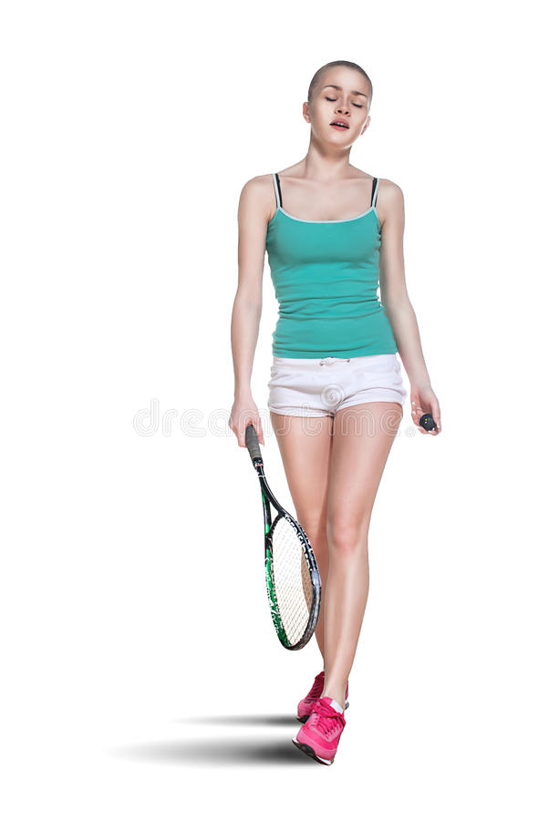 Woman playing squash stock image