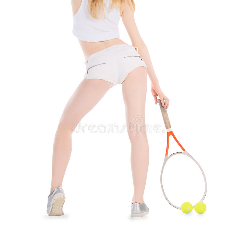 Woman playing tennis waiting ball over white royalty free stock photography