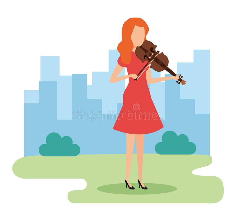 Woman playing violin character stock illustration