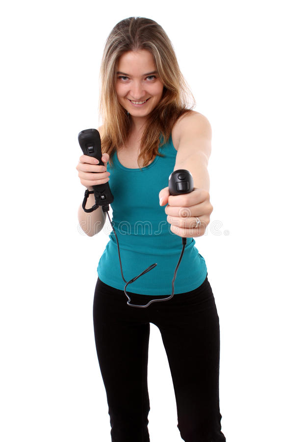 Download Woman Playing A Wireless Video Game Stock Photo - Image: 19499420