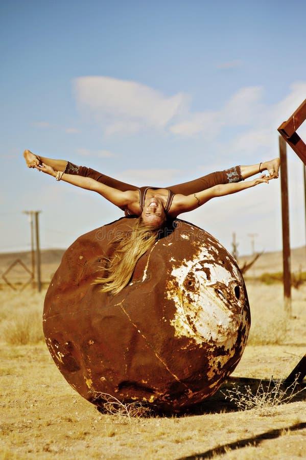 Yoga Woman Recycling Splits  royalty free stock image