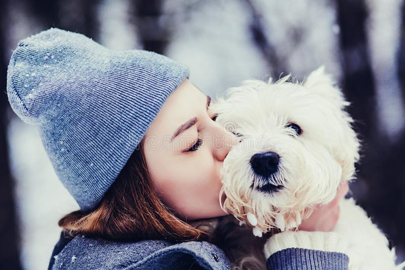 Woman plays with white terrier dog royalty free stock photos