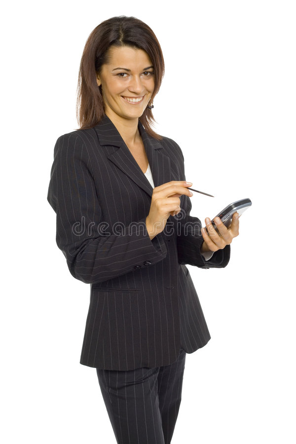 Download Woman with Pocket PC stock photo. Image of executive, smile - 2218508