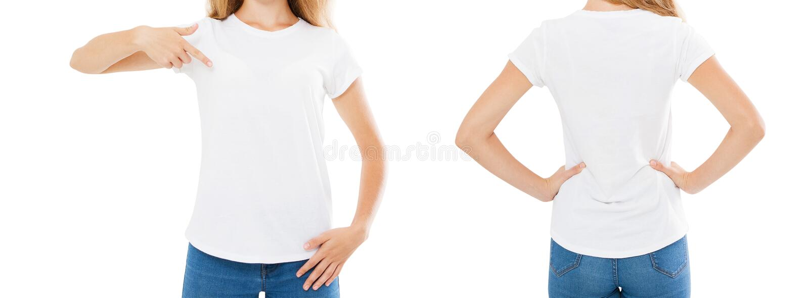 Woman pointed on t shirt isolated on white background,mock up,cropped image.  stock image