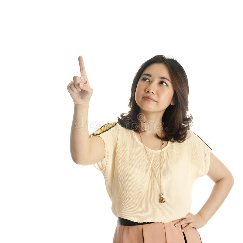 Download Woman Pointing At Copy Space Stock Image - Image: 25699763