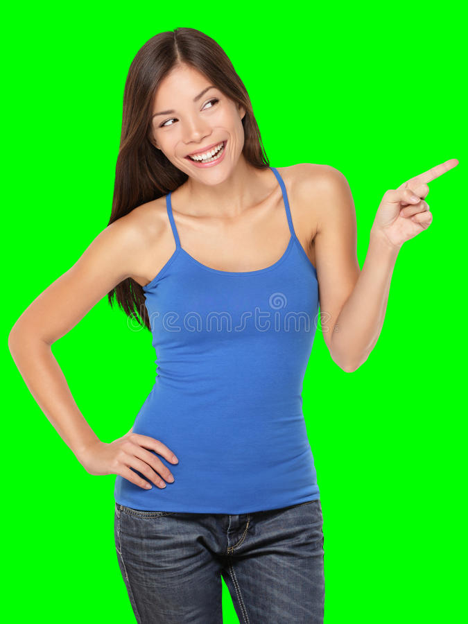 Woman pointing happy isolated stock photography