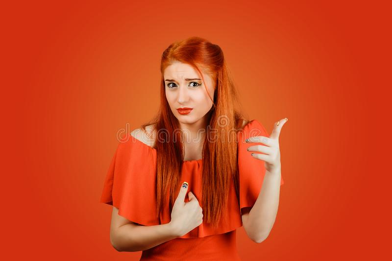 Woman pointing index fingers toward herself and to you at camera royalty free stock photos