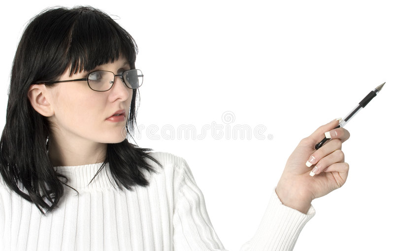 Woman Pointing with Ink Pen royalty free stock photography