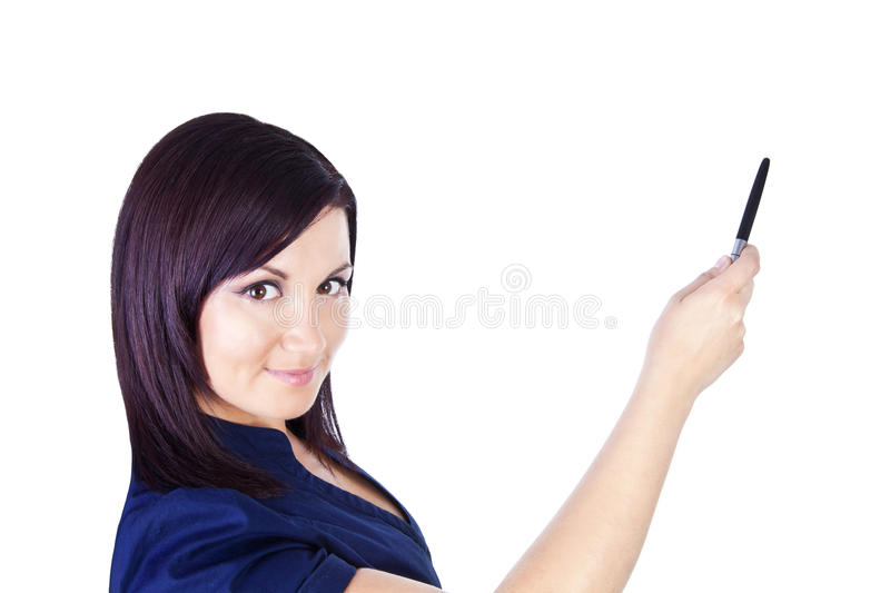 Woman pointing and making presentation over white royalty free stock photo