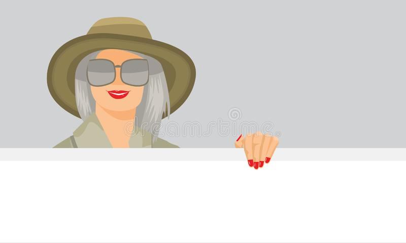 Woman pointing standing behind white empty board showing blank board. Flat and solid color vector illustration. stock illustration