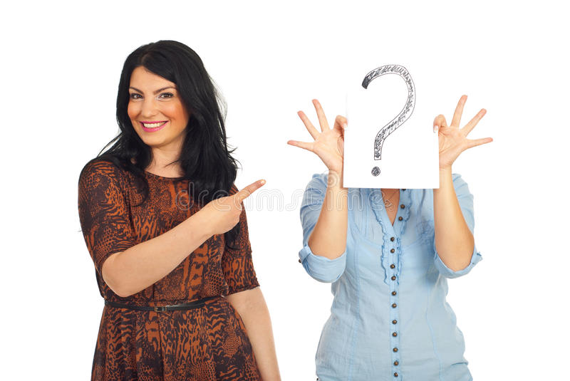 Download Woman Pointing To Unknown Friend Stock Photo - Image: 19423528