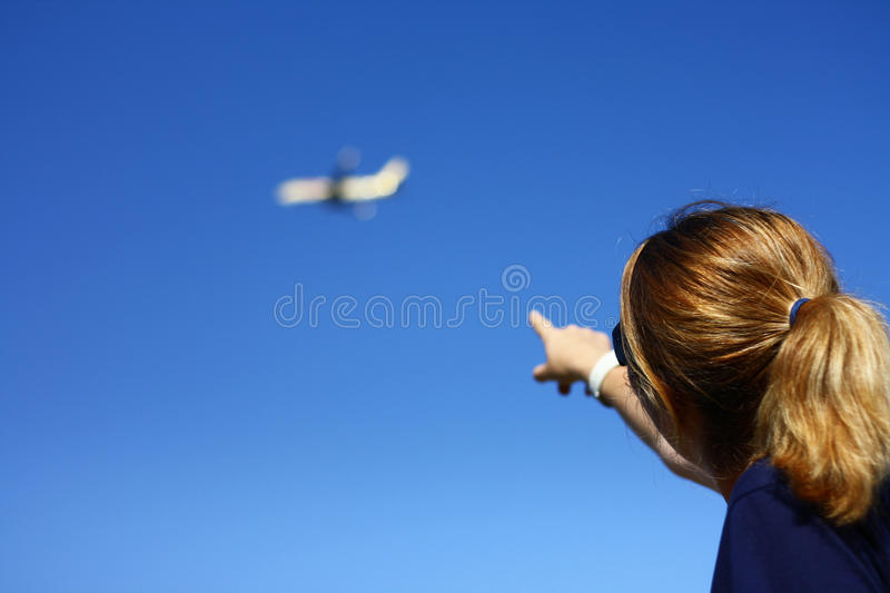 Download Woman Pointing Towards The Blue Sky Stock Image - Image of hand, business: 21417977