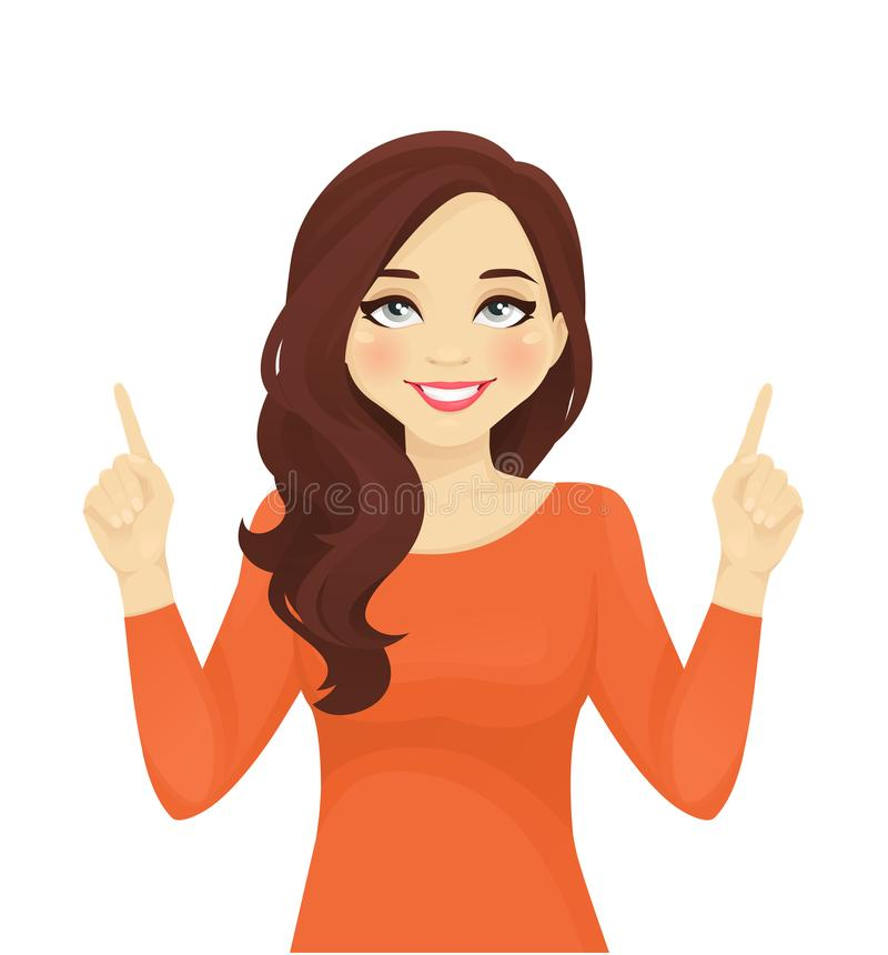 Woman pointing up royalty free illustration
