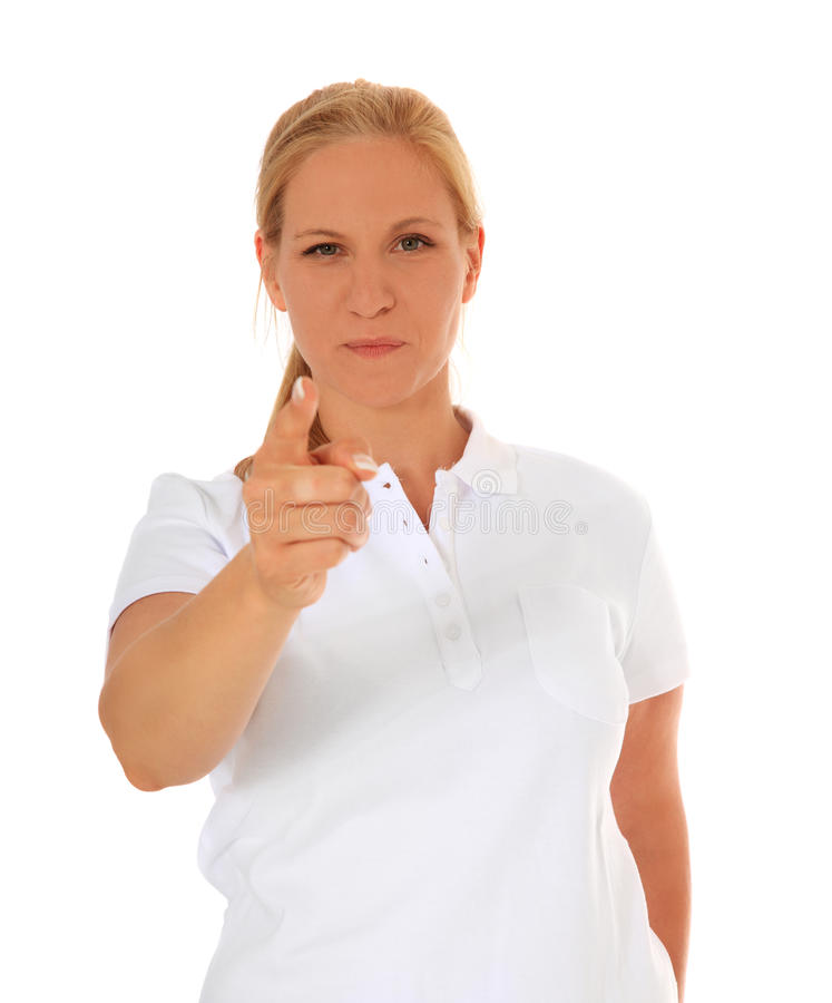 Woman points with finger
