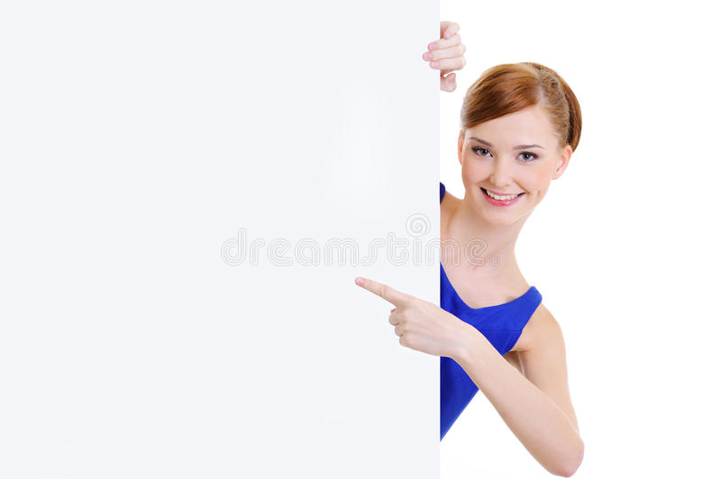 Download Woman Points On Message On The  Banner Royalty Free Stock Images - Image: 13175489