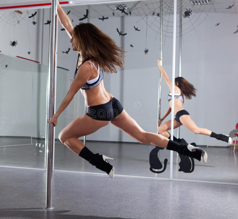 Download Woman and pole-dance stock photo. Image of female, mirror - 26417132