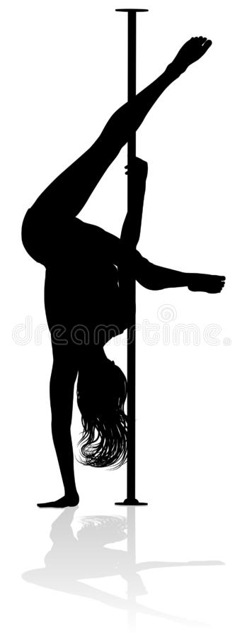 Pole Dancer Woman Silhouette vector illustration