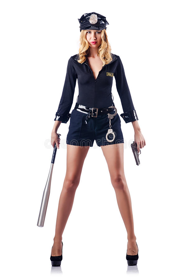 Woman Police With  Bat Stock Photography