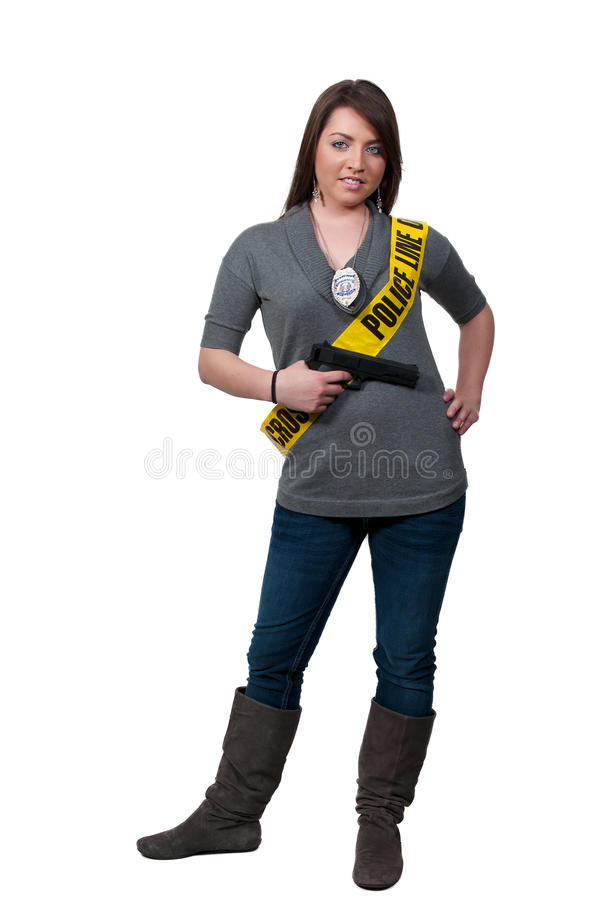 Woman Police Detective with Gun royalty free stock image