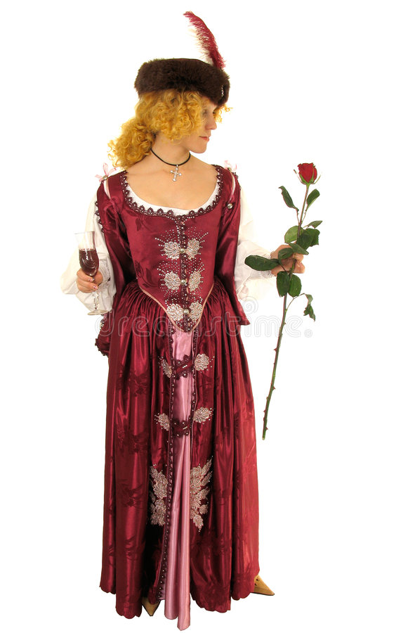 Woman in Polish clothes with rose stock photo
