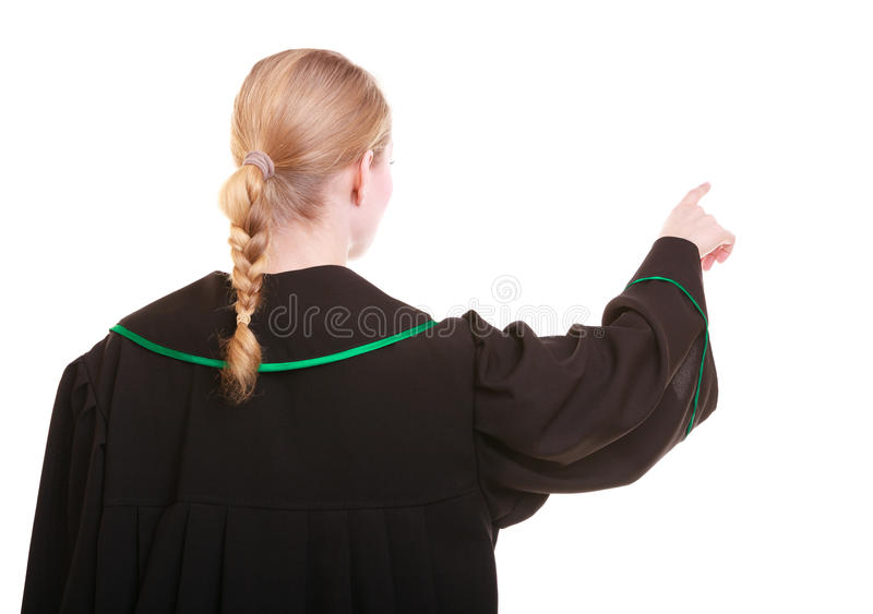 Woman polish lawyer back view pointing royalty free stock image
