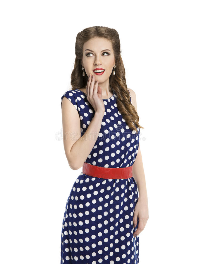 Woman in Polka Dot Dress, Retro Girl Pin Up Hair Style, Beauty. Make Up and Hairstyle, Isolated Over White Background royalty free stock photos