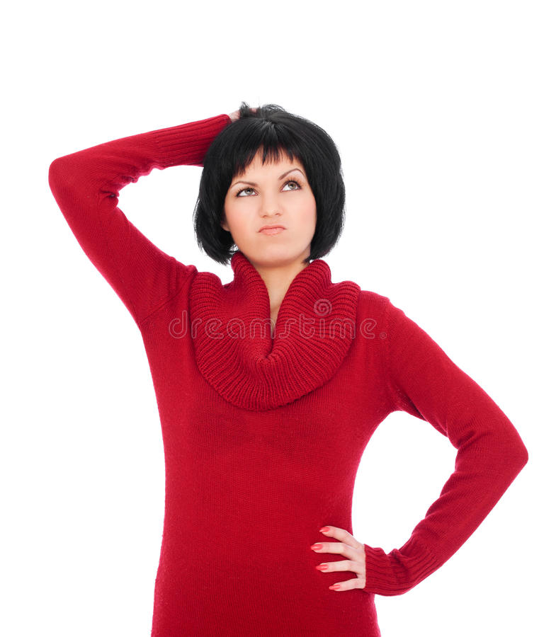 Woman ponder over something and looking up stock photo