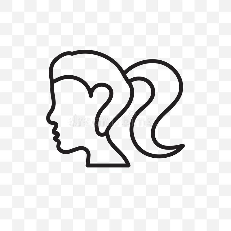 Woman with ponytail face vector linear icon isolated on transparent background, Woman with ponytail face transparency concept can. Be used for web and mobile royalty free illustration