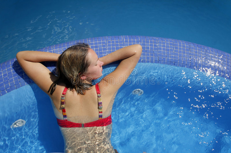 Woman in Pool stock image
