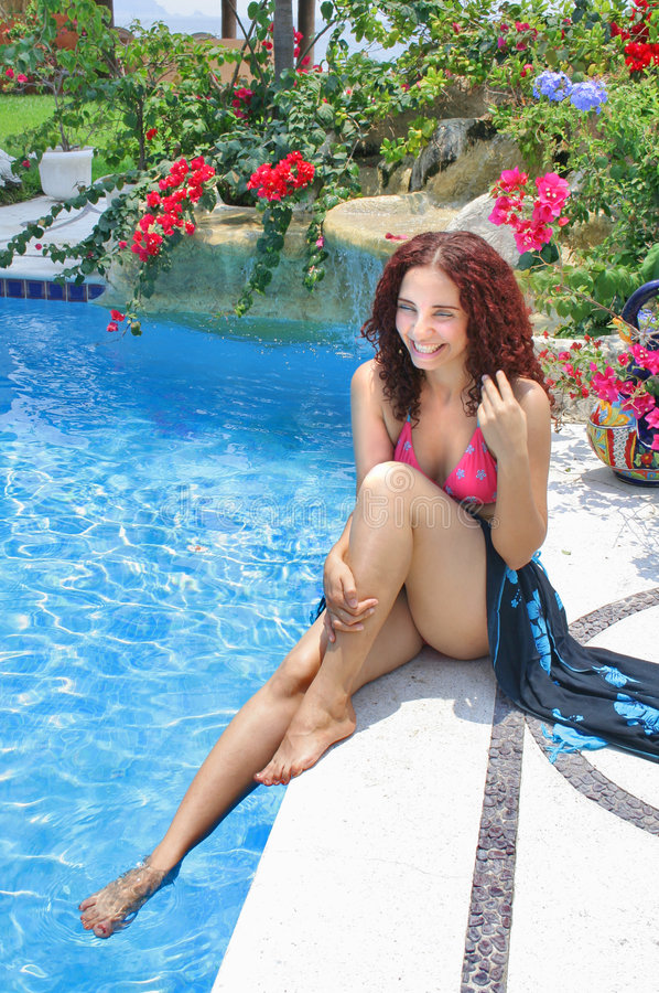 Download Woman Poolside stock image. Image of leisure, recreational - 5104645