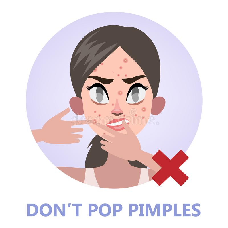 Woman pop pimple on the acne face. Popping acne is forbidden. Girl touching her face. Isolated flat vector illustration vector illustration