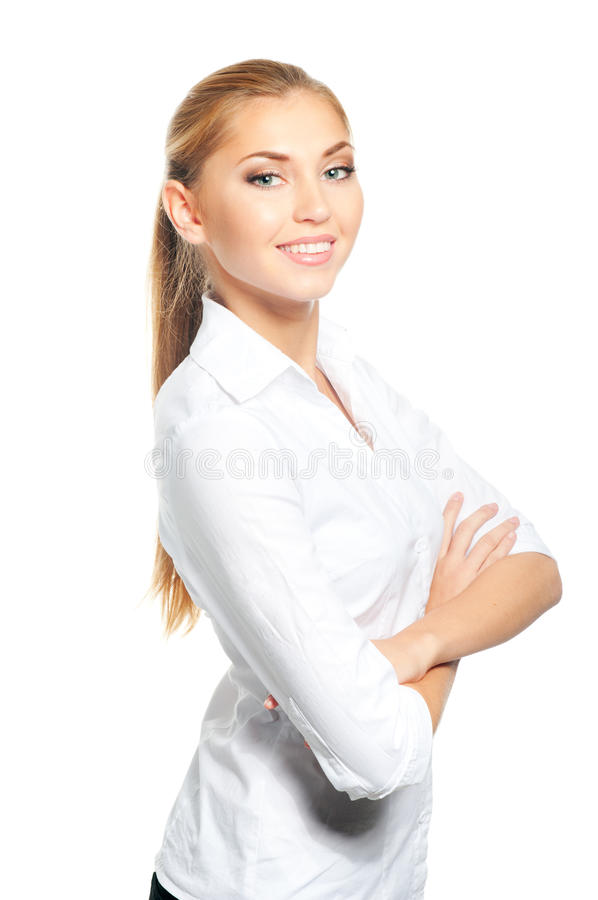 Woman portrait. Confident business woman smiling, isolated over a white background stock image