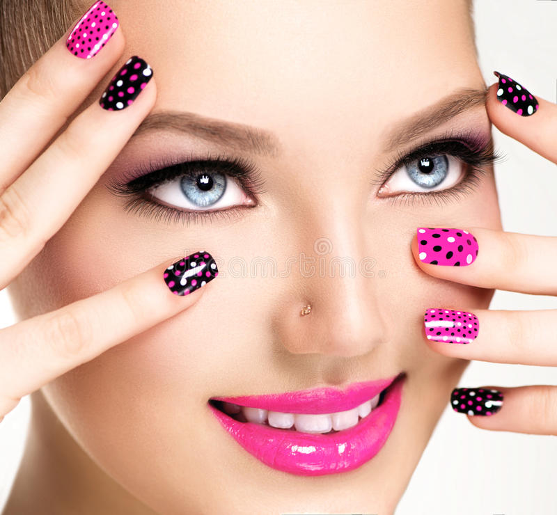 Woman portrait close up. Bright Colors. Manicure and makeup stock photography