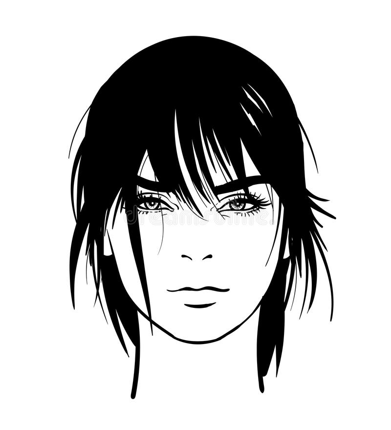 Woman portrait. Digital sketch hand drawing vector. Black and white style. royalty free illustration