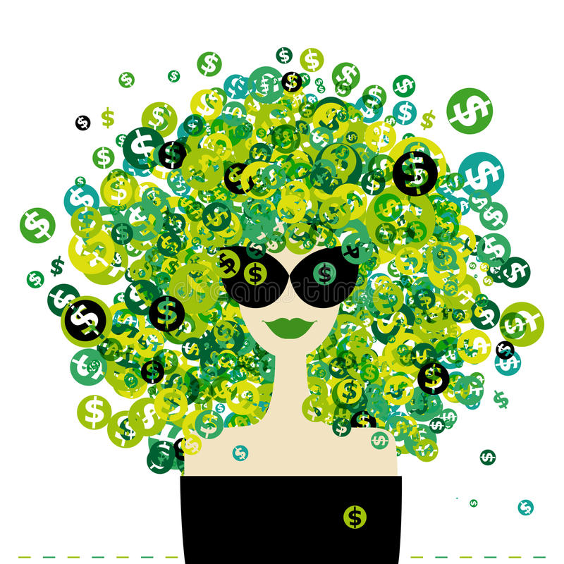 Download Woman Portrait With Dollar Signs Hairstyle Stock Vector - Image: 23943615