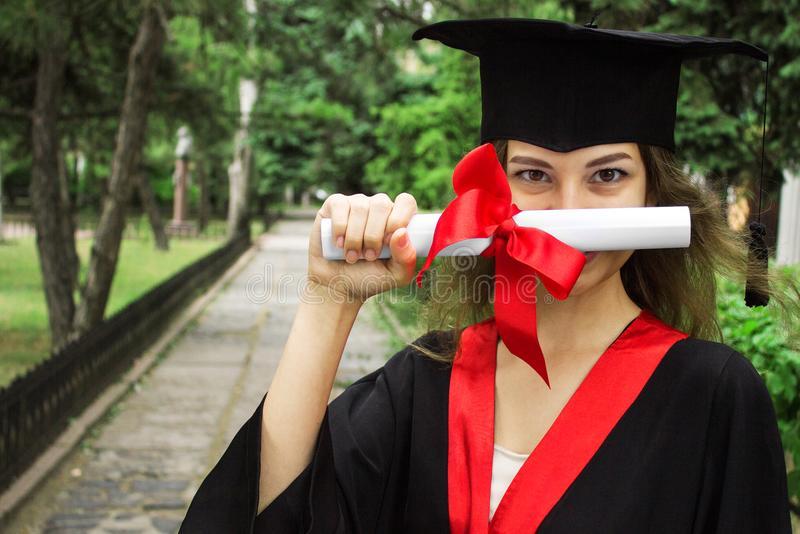 Woman portrait on her graduation day. University. Education, graduation and people concept royalty free stock photography
