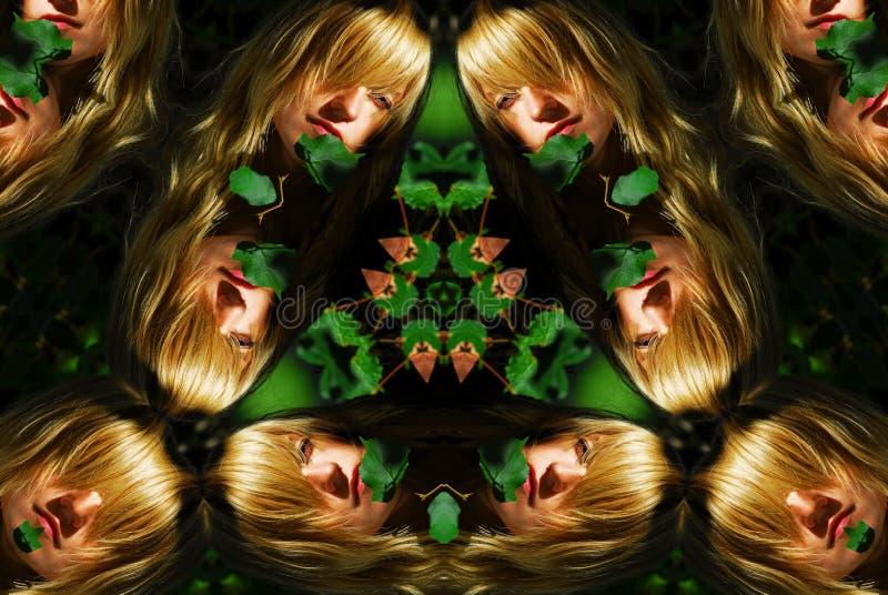 Woman portrait kaleidoscope stock photos
