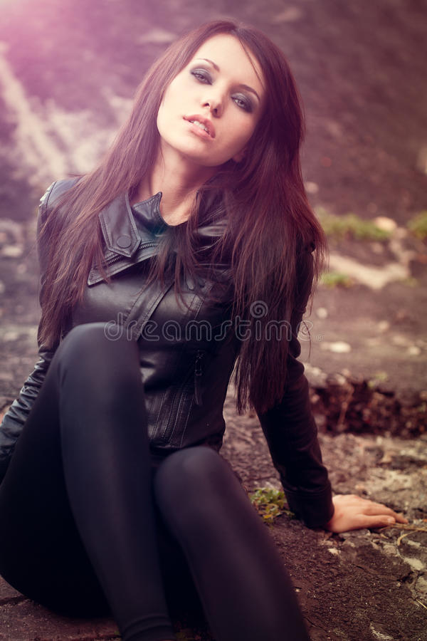 Download Woman Portrait With Lens Flare Effect Stock Photo - Image: 22911310