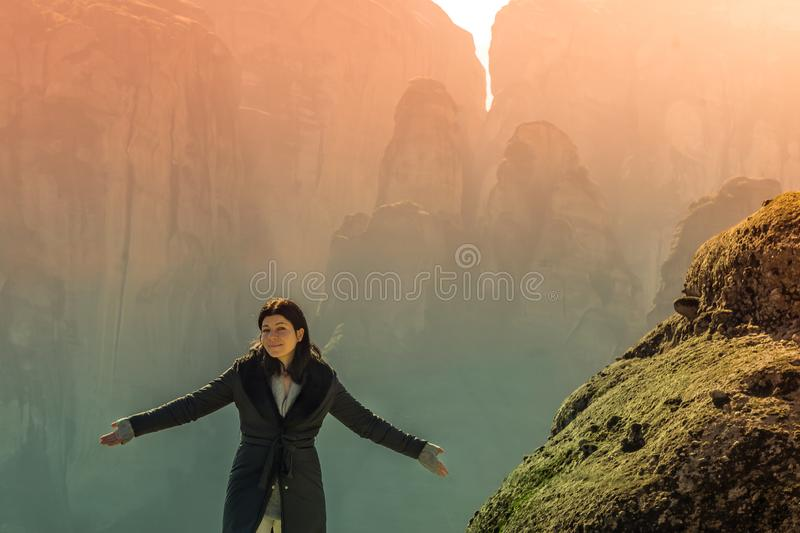 Woman portrait at Meteora in Greece. A beautiful landscape view. royalty free stock photo