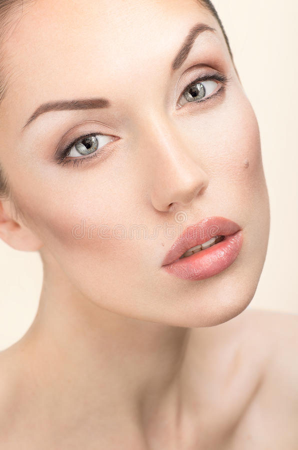 Woman portrait with natural make-up. And pure skin royalty free stock images