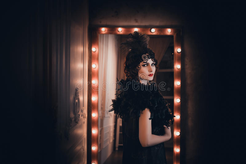 Woman, portrait in retro style royalty free stock images