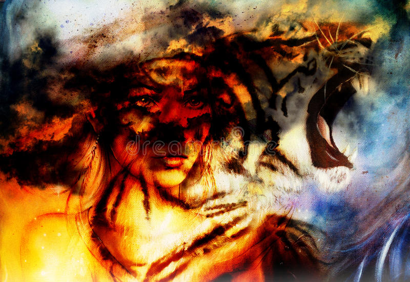 Woman portrait with spiritual fire tiger on space, color painting collage.  stock photography