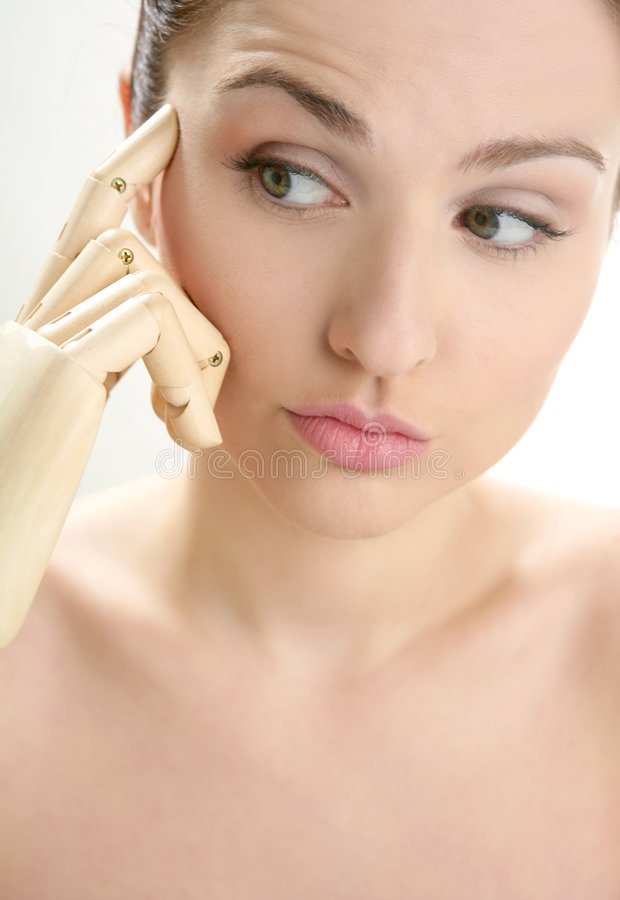 Download Woman Portrait Thinking With Mannequin Hand Stock Image - Image: 8065153